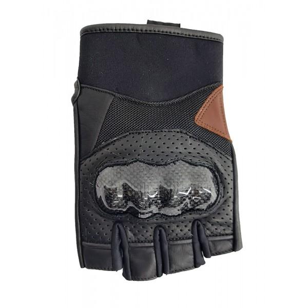 Γάντια δερμάτινα με κομμένα δάκτυλα AGVPro Vend Carbon