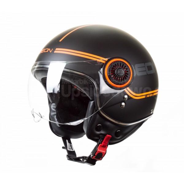 Κράνος jet BEON B110B Line μαύρο/πορτοκαλί ματ