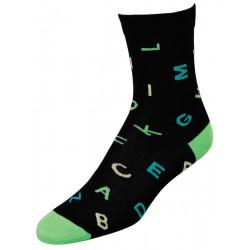 Γυναικείες κάλτσες γράμματα, μαύρο/πράσινο